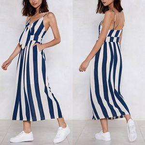 Striped Maxi dress with front tie